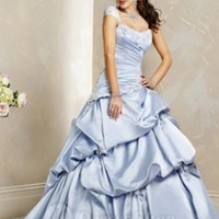A-line Square Embroidery Taffeta Chapel Train Wedding Dress at Dresseshop
