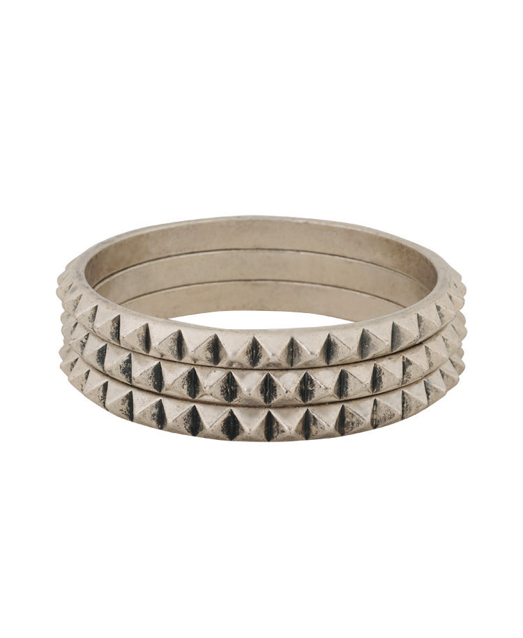 Pyramid Spike Bangle Set