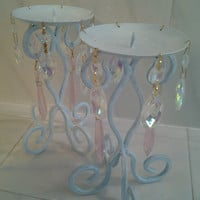 Set 2 Pale Aqua Shabby Candleholders with Pink Iridescent Chandelier Crystals Shabby Chic French Cottage Style