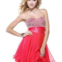 A-line Beaded Bodice Sweetheart Neckline Layered Prom Dress PD1930