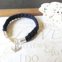 KNOTTY v.9 braided nautical rope bracelet with anchor charm in navy (gold or silver) LIMITED EDITION