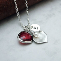 Personalized Calla Lily Necklace with Red Glass, Custom Initial Necklace, Bridesmaid Jewelry