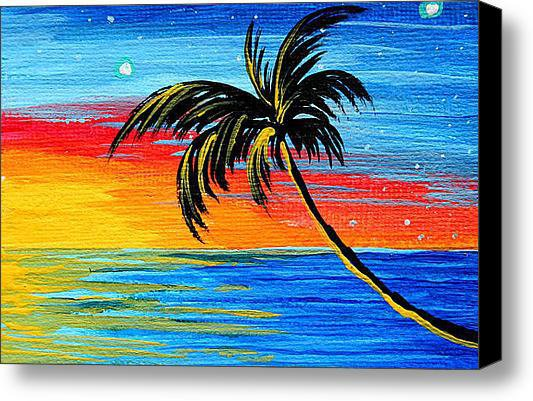 Abstract Tropical Palm Tree Painting Tropical Goodbye By Madart Stretched Canvas Print / Canvas Art By Megan Duncanson