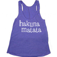 Hakuna Matata Racerback Tank Tri-Blend Womens American Apparel S, M, L