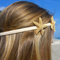 Starfish Headband with Two Sugar Starfish-Tan-Hippy Chic, Beach Hair, Mermaid Hair, Boho Coastal, Jersey Shore, Nautical, Beach Weddings
