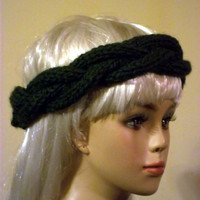 Hand Knit Headband Green