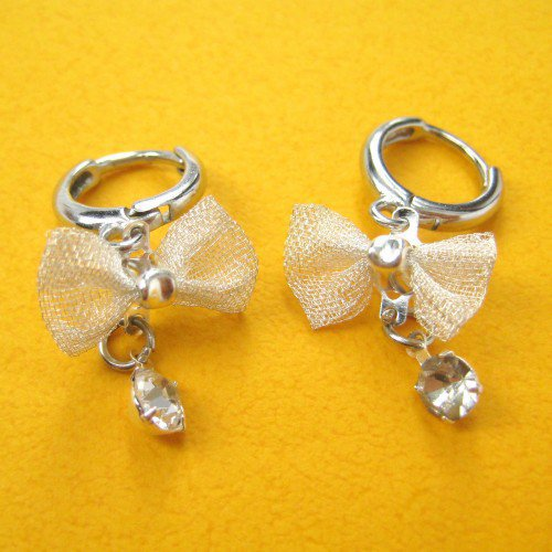 ONE DOLLAR SALE - Bow Tie Diamond Dangle Earrings