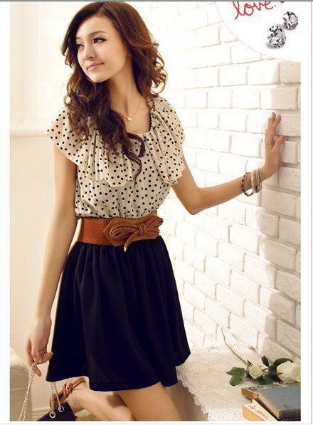 Sweet Slim Dot Dress White