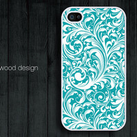 iphone 4 case iphone 4s case iphone 4 cover classic illustrator blue style  flower graphic design printing