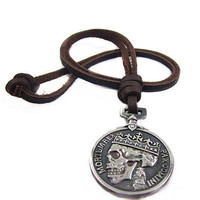Jeweler leather necklace men necklace boy necklace women necklace skeleton necklace made of  metal skeleton brown leather   XL-1995