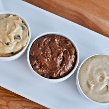 Snickerdoodle, Peanut Butter Chocolate, and Double Chocolate Fudge Cookie Dough Dips | How Sweet It Is