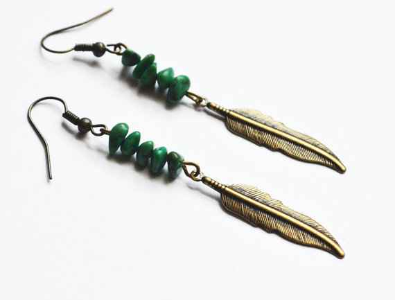 Tribal Feather Earrings. Bohemian Turquoise Jewelry. Long Feather Earrings. Sale