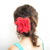 15% SALE Red chiffon flower hair pin, brooch