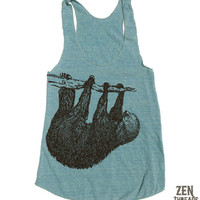 Womens TREE SLOTH american apparel Tri-Blend Racerback Tank Top S M L (8 Color Options)