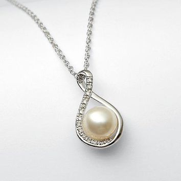 pearl + diamond necklace from RedEnvelope.com