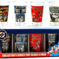 ROCKWORLDEAST - DC Comics, Glass Mug Set, Vintage Covers