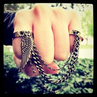 Guardian Angel - double finger chain ring