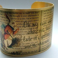 Alice In Wonderland Jewelry &#x27;Drink Me&#x27; Literary Quote Brass Cuff Bracelet
