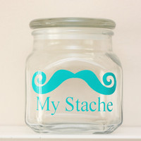My Stache - LARGE - Mustache Money Jar - Curly Handlebar Moustache - TEAL/TURQUOISE