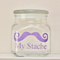 My Stache - MINI - Mustache Money Jar - Curly Handlebar Moustache - LAVENDER