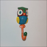 Wall Hook /Colorful Owl Hanger /Blue, Orange,Yellow, Bright Painted Metal /Key Holder /Bathroom Fixture /Mud Room Rack /Whimsy Nursery Decor
