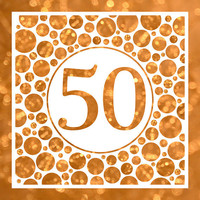 Fifty In Gold - 50th Birthday Party Or Anniversary Invitation - Card Design - Printable File