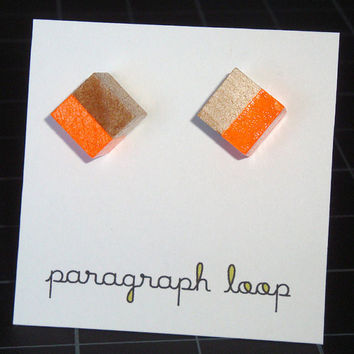 Symmetry cube wood post earrings - neon bright orange