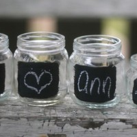SET of 50 Wedding Place Cards Upcycled Glass Jars by braggingbags