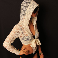Cream lace cropped hood shrug with bow tie
