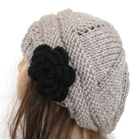 Hand Knit Hat - chunky knit Beehive beret in beige with black  flower- womens Slouch Beanie   Winter Accessories- Spring Pastel Fashion