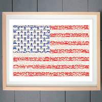 Moustache USA Flag (made with various Moustache)  ART PRINT 16x20 inches (41 X 51 cm) (Three editions available - You pick)