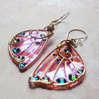 Sidhe Wings Earrings - Pixie Wings in Brass - Iridescent Faery Wing Earrings - Fairy Wings - Fairie Wings