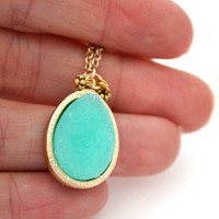 Teardrop mint druzy pendant on gold chain only today $16.95
