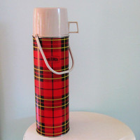 vintage 1964 red plaid king seeley quart size metal thermos 2442