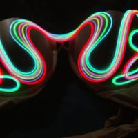 6 color Light Up bra ANIMATED Sound responsive El Wire bra