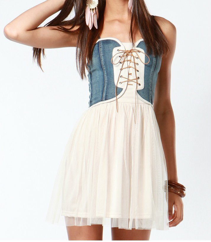 Janet Denim Corset Tulle Dress from UsTrendy | Party Dresses
