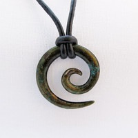 Koru Tribal Pendant in bronze moss