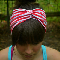 Red and White Striped Turban Headband