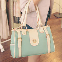 YESSTYLE: PG Beauty- Contrast-Strap Buckled Shoulder Bag (Light Green - One Size) - Free International Shipping on orders over $150