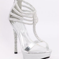 Silver Shoes, Prom Shoe, Wedding Sandals, Promshoe-800-30