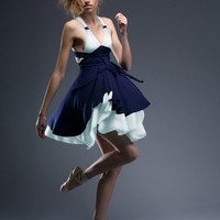 The Enchantress Tiered, Halter color blocked Dress