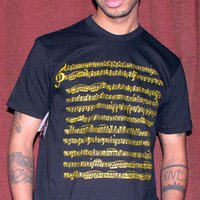 Sheet Music Crew Neck Tee: in Black/ Gold Metallic; hearttester
