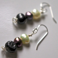 Pearl Earring, tri color  - Sterling Silver