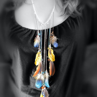 Feather Necklace - Multi Color, Chain, Parrot Feathers, Crystal Beads, Various Metals - OOAK Jewelry