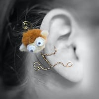 Ear Cuff - Monster, Creature, Critter, Monkey, Wire Wrap, Pompom, Google Eyes, Felt OOAK Jewelry