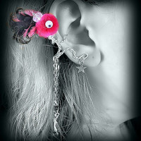 Ear Cuff - Monster, Creature, Critter, Feathers, Pompom, Wire Wrap, Crystal Bead, Hot Pink and Black- Google Eyes OOAK Jewelry