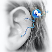 Ear Cuff - Monster, Creature, Critter, Wire Wrap, Pompom, Google Eyes, Turquoise OOAK Jewelry
