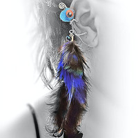 Ear Cuff - Monster, Creature, Critter, Feathers, Pompom, Wire Wrap, Crystal Bead, Peacock, Turquoise, Black, Cyclops -OOAK Jewelry