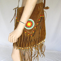 Vintage  Fringe Beaded Leather Boho Purse