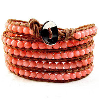 Leather Bead Bracelet, Five Wrap, Natural Pink Coral adjustable 36&quot;